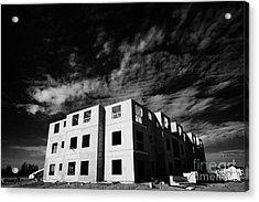 typical timber framed condominium block construction with sheet panels Saskatchewan Canada Acrylic Print