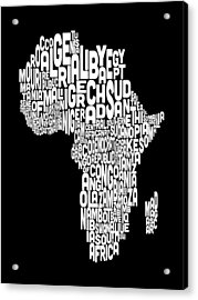 Typography Map Of Africa Map Acrylic Print by Michael Tompsett
