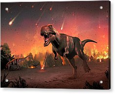 Tyrannosaurs Fleeing A Hail Of Meteorites Acrylic Print by Mark Garlick