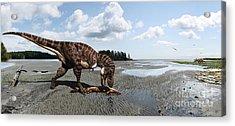 Tyrannosaurus Enjoying Seafood - Wide Format Acrylic Print