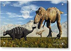 Tyrannosaurus Rex Dinosaurs Confronting Acrylic Print