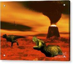Tyrannosaurus Rex Dinosaurs Struggle Acrylic Print by Elena Duvernay