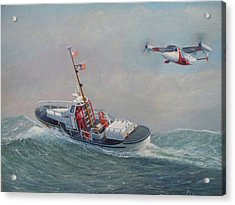 U. S. Coast Guard 44ft Motor Lifeboat And Tilt-motor Aircraft  Acrylic Print by William H RaVell III