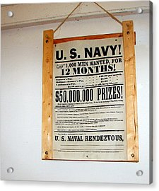 U. S. Navy Men Wanted Acrylic Print