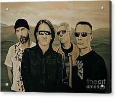 U2 Silver And Gold Acrylic Print by Paul Meijering