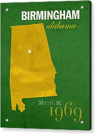 Uab University Of Alabama At Birmingham Blazers College Town State Map Poster Series No 009  Acrylic Print by Design Turnpike