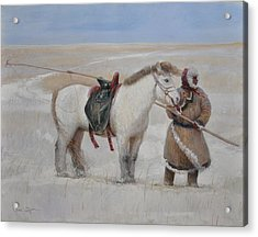 Ujumchin Herdsmen In Winter Pastures Acrylic Print by Ji-qun Chen