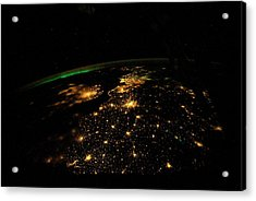 Uk And Europe At Night From Space Acrylic Print
