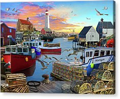Acrylic Print featuring the drawing Uk Boat Cove by David M ( Maclean )