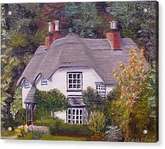 Acrylic Print featuring the painting Uk Thatched Cottage by Diane Daigle