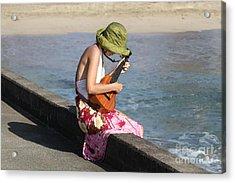 Ukulele Lady At Hanalei Bay Acrylic Print