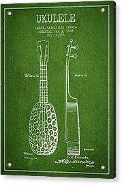 Ukulele Patent Drawing From 1928 - Green Acrylic Print