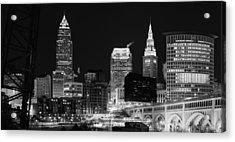 Ultra Rez Cleveland Black And White Acrylic Print
