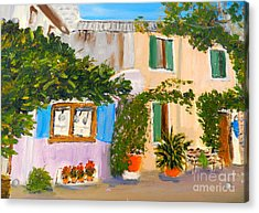 Acrylic Print featuring the painting Umbera Courtyard by Pamela  Meredith