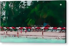 Umbrella Beach Acrylic Print by Perry Webster