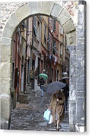 Umbrella Day Portovenere Italy Acrylic Print by Sally Ross