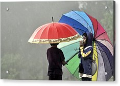 Umbrella For Rent Acrylic Print by Achmad Bachtiar