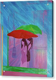 Acrylic Print featuring the painting Umbrella Girls by First Star Art