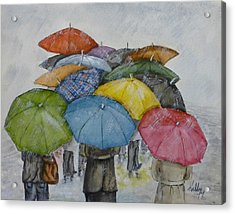 Umbrella Huddle Acrylic Print by Kelly Mills