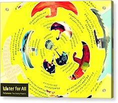 Umbrella In Waterstorm Acrylic Print by Happy  Rainbowbee