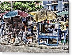 Umbrella Market Acrylic Print by Linda Phelps