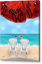 Umbrella View Acrylic Print by Christine Fournier