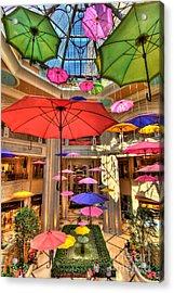 Umbrellas At Palazzo Shops Acrylic Print by Amy Cicconi