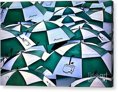 Umbrellas At The Masters Acrylic Print by Walt Foegelle