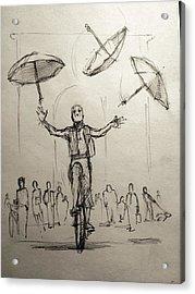 Umbrellas Acrylic Print by H James Hoff
