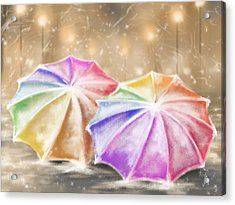 Umbrellas Acrylic Print by Veronica Minozzi