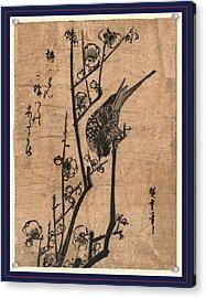 Ume Ni Uguisu, Bush Warbler On A Plum Branch Acrylic Print