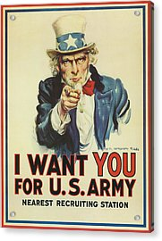 Uncle Sam Wants You Acrylic Print by Underwood Archives