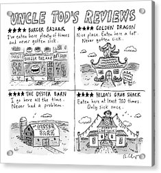 Uncle Tod's Reviews Acrylic Print