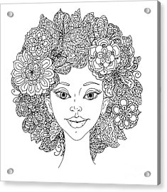 Uncolored Girlish Face For Adult Acrylic Print by Mashabr