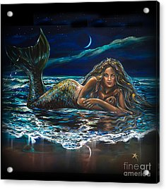 Under A Crescent Moon Mermaid Pillow Acrylic Print