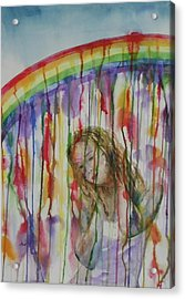 Acrylic Print featuring the painting Under A Crying Rainbow by Anna Ruzsan