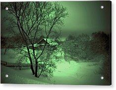 Under Green Moon Acrylic Print by Jenny Rainbow