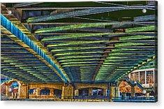 Under Hennepin Avenue Bridge Acrylic Print by Bill Tiepelman