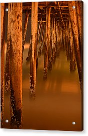 Under The Pier Acrylic Print by Mike Schmidt
