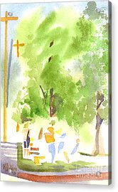 Under The Shade Trees Farmers Market Iv Acrylic Print by Kip DeVore