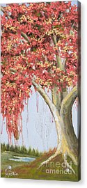 Under The Tree With Gold Leaf By Vic Mastis Acrylic Print by Vic  Mastis