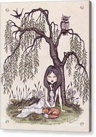 Under The Willow Tree Acrylic Print by Snezana Kragulj