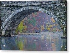 Under Valley Green Bridge In Autumn Acrylic Print by Bill Cannon
