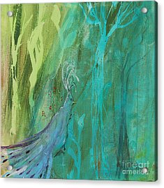 Acrylic Print featuring the painting Undercover Peacock by Robin Maria Pedrero