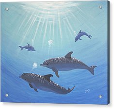 Underwater Dolphins Original Acrylic Painting Acrylic Print by Georgeta  Blanaru