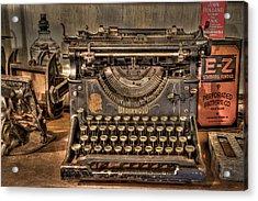 Underwood Typewriter Number 5 Acrylic Print by Debra and Dave Vanderlaan