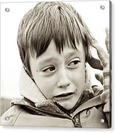 Unhappy Boy Acrylic Print by Tom Gowanlock