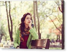 Unhappy Girl Sitting At Bench Acrylic Print by Martin Dimitrov