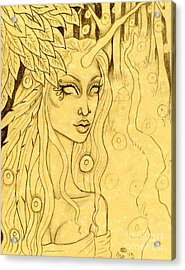 Unicorn In The Woods Sketch Acrylic Print by Coriander  Shea