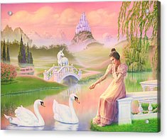 Unicorn Princess Swans On Lake Acrylic Print